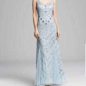 Aidan Mattox light blue embellished godet gown